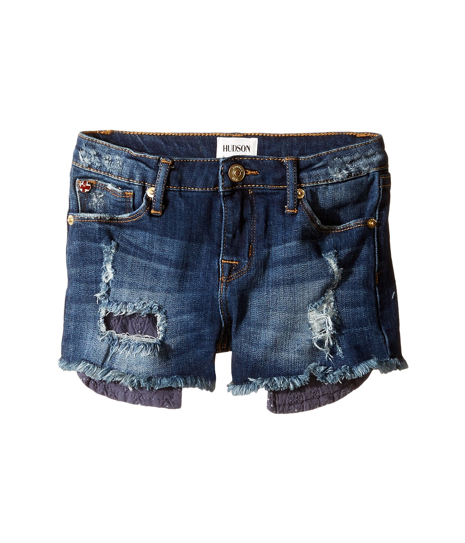 Hudson Kids - Five-Pocket Shorts with Exposed Embroidered Pocket in Dark Stone Used (Toddler/Little Kids) (Dark Stone Used) Girl's Shorts