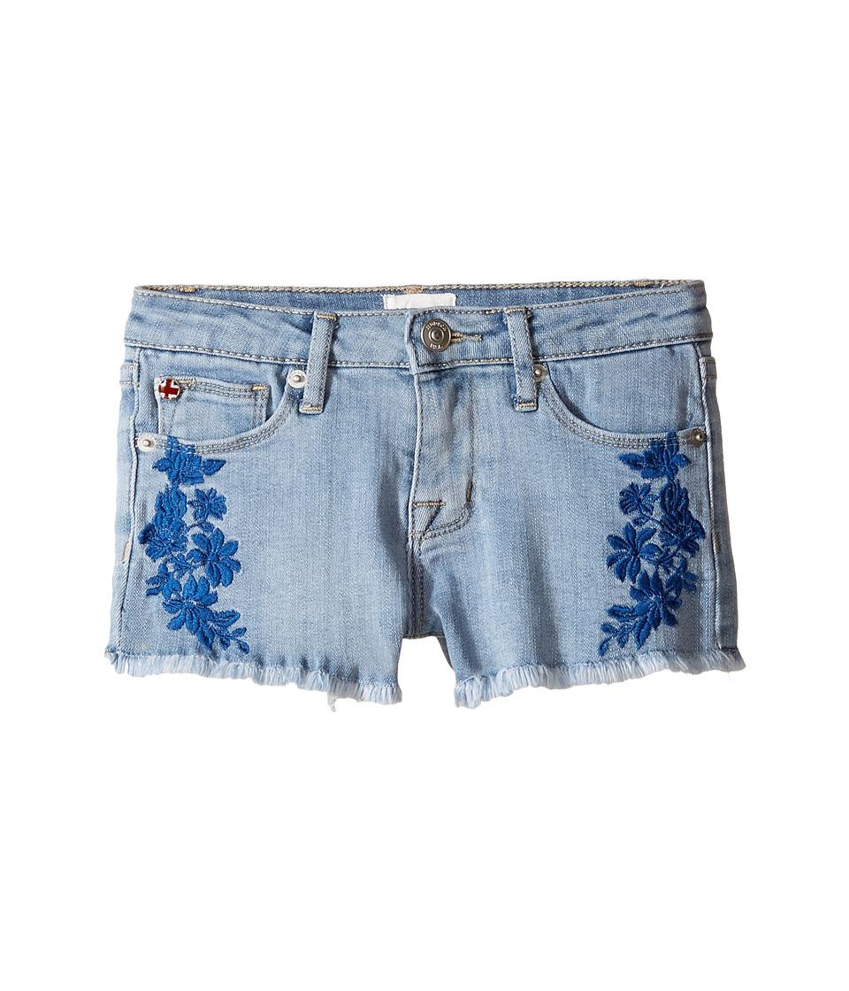 Hudson Kids - 2 1/2 Fray Hem Shorts with Embroidery in Light Blue (Toddler/Little Kids) (Light Blue) Girl's Shorts