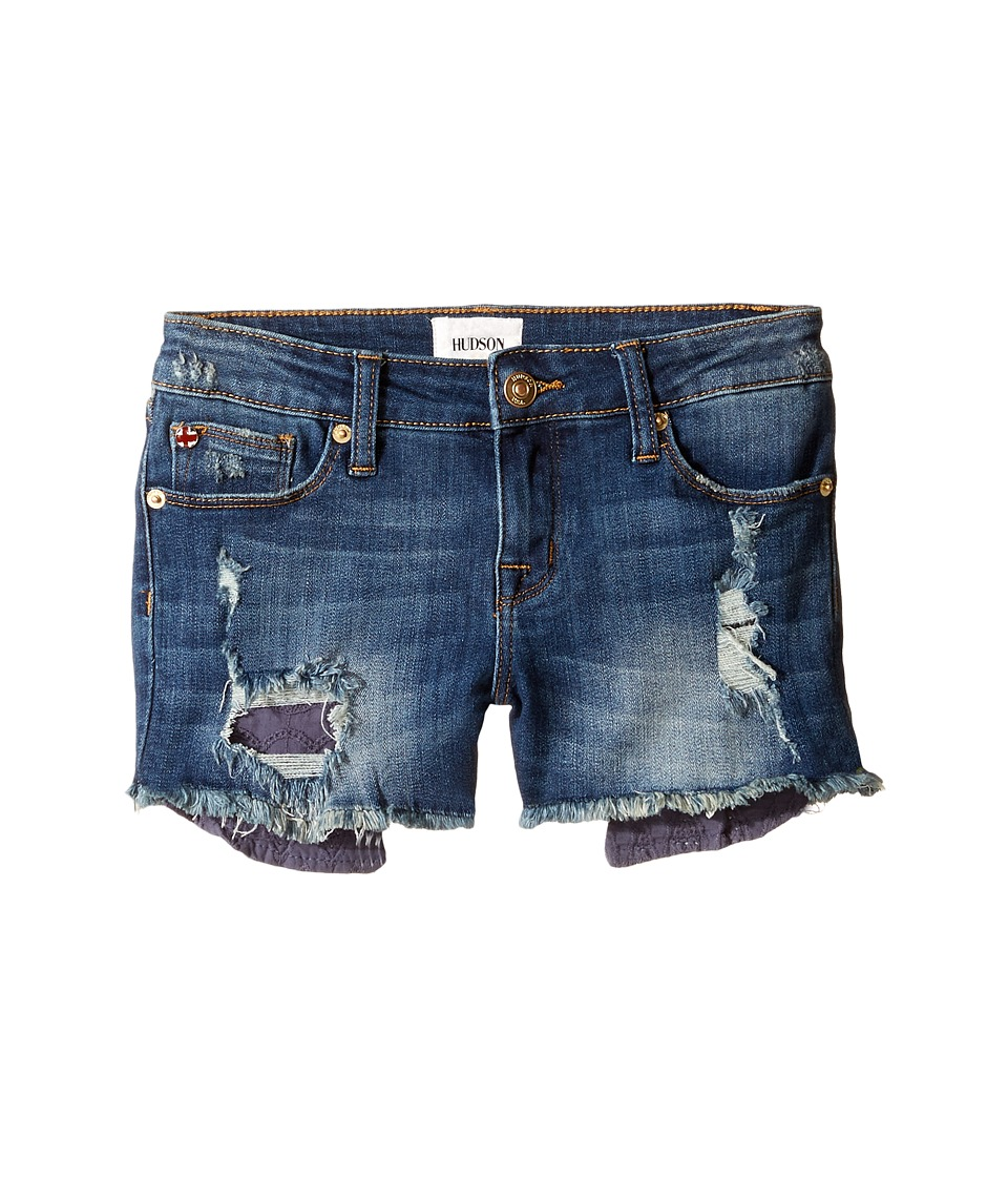 Hudson Kids - Five-Pocket Shorts with Exposed Embroidered Pocket in Dark Stone Used (Big Kids) (Dark Stone Used) Girl's Shorts