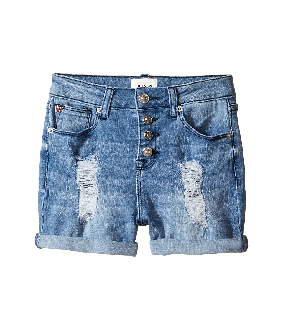Hudson Kids - Double Roll Cuff High Waisted Destructed Shorts in Twilight (Big Kids) (Twilight) Girl's Shorts