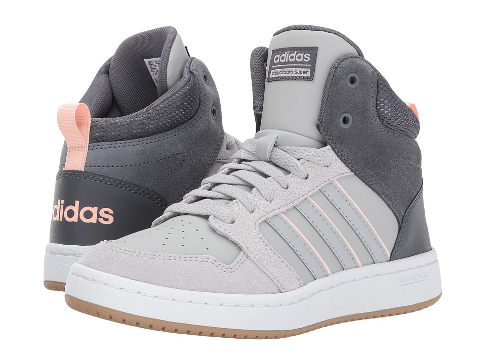 adidas - Cloudfoam Super Hoops Mid (Grey Five/Grey Two/Icy Pink) Women's Basketball Shoes