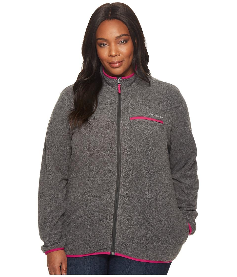 Columbia Plus Size Mountain Crest Full Zip (Shark Heather/Deep Blush) Women