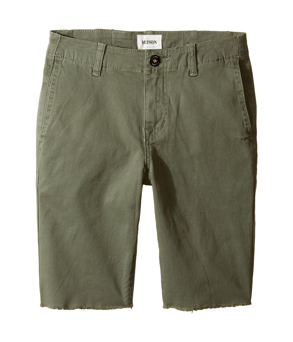 Hudson Kids - Beach Daze Raw Hem Sateen Chino Shorts in Green Ash (Big Kids) (Green Ash) Boy's Shorts