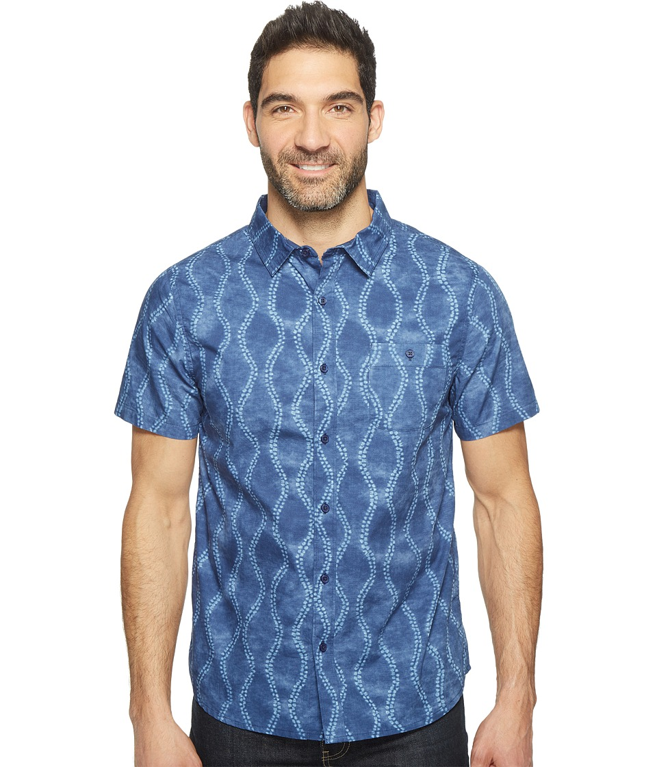 Threads 4 Thought - Batik Print Short Sleeve Woven (Blue Batik) Men's Clothing