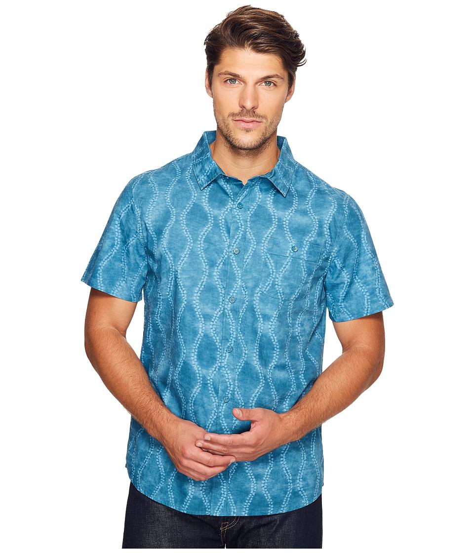 Threads 4 Thought - Batik Print Short Sleeve Woven (Aqua Batik) Men's Clothing