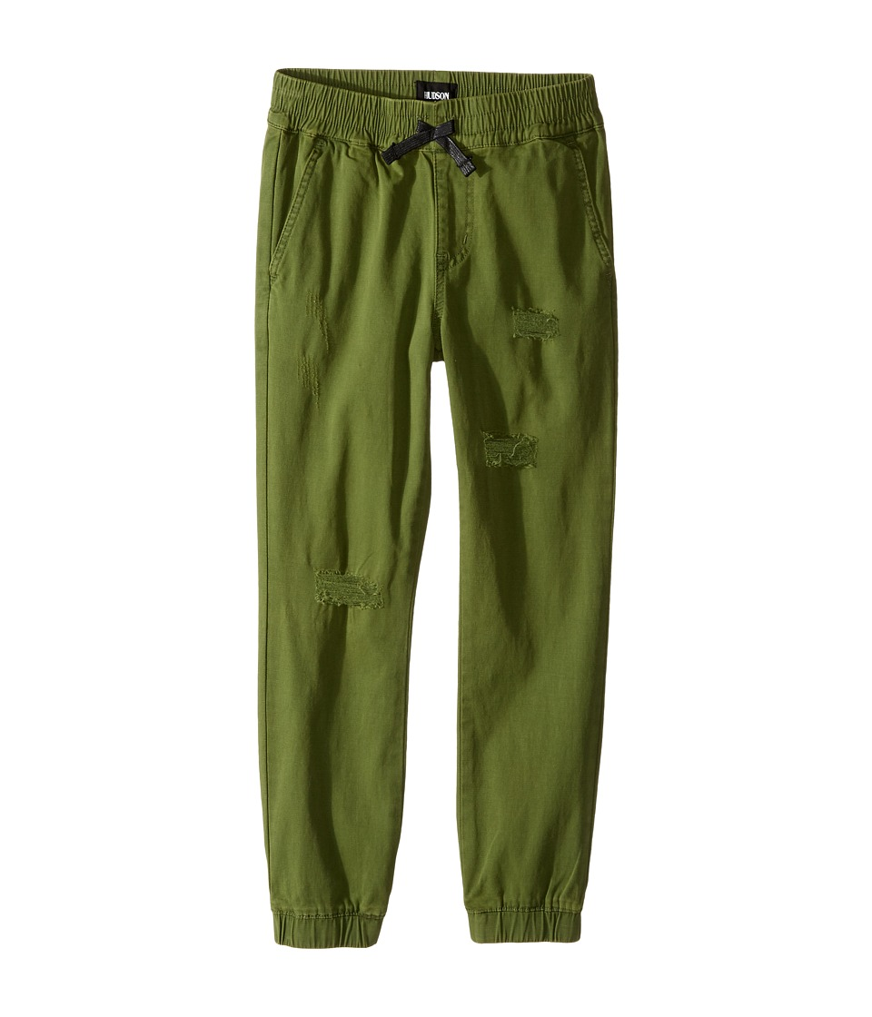 Hudson Kids - Destructed Twill Slim Jogger in Olive Green (Big Kids) (Olive Green) Boy's Casual Pants