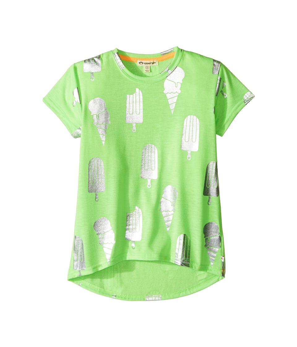 Appaman Kids - Ice Cream Metallic Print Circle Tee (Toddler/Little Kids/Big Kids) (Lime Sherbet) Girl's T Shirt