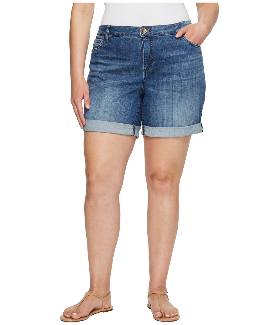 KUT from the Kloth - Plus Size Catherine Boyfriend Roll Up Shorts in Feminine/Medium Base Wash (Feminine/Medium Base Wash) Women's Shorts