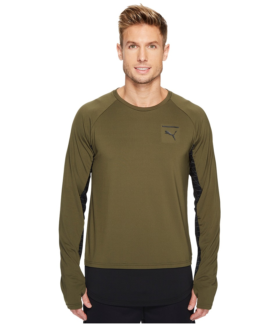 PUMA - Evo Long Sleeve Grid (Olive Night) Men's Clothing