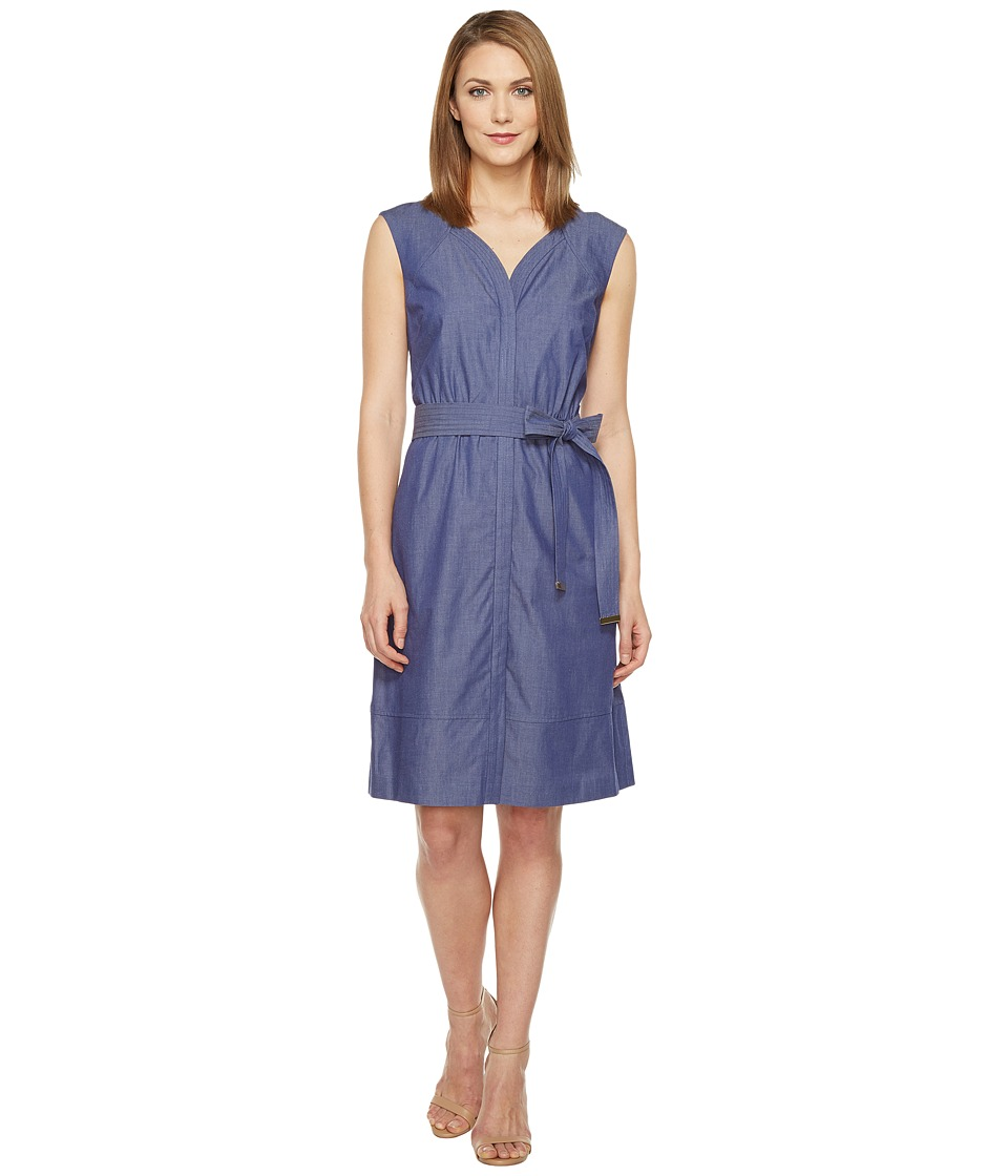 Ellen Tracy - Belted Dress (Chambray) Women's Dress