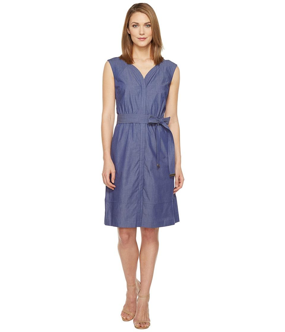Ellen Tracy - Belted Dress (Chambray) Women's Dress