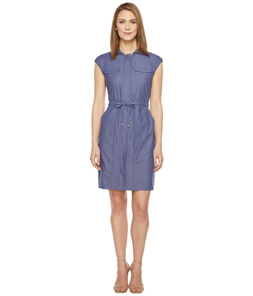 Ellen Tracy - Drawstring Dress (Chambray) Women's Dress