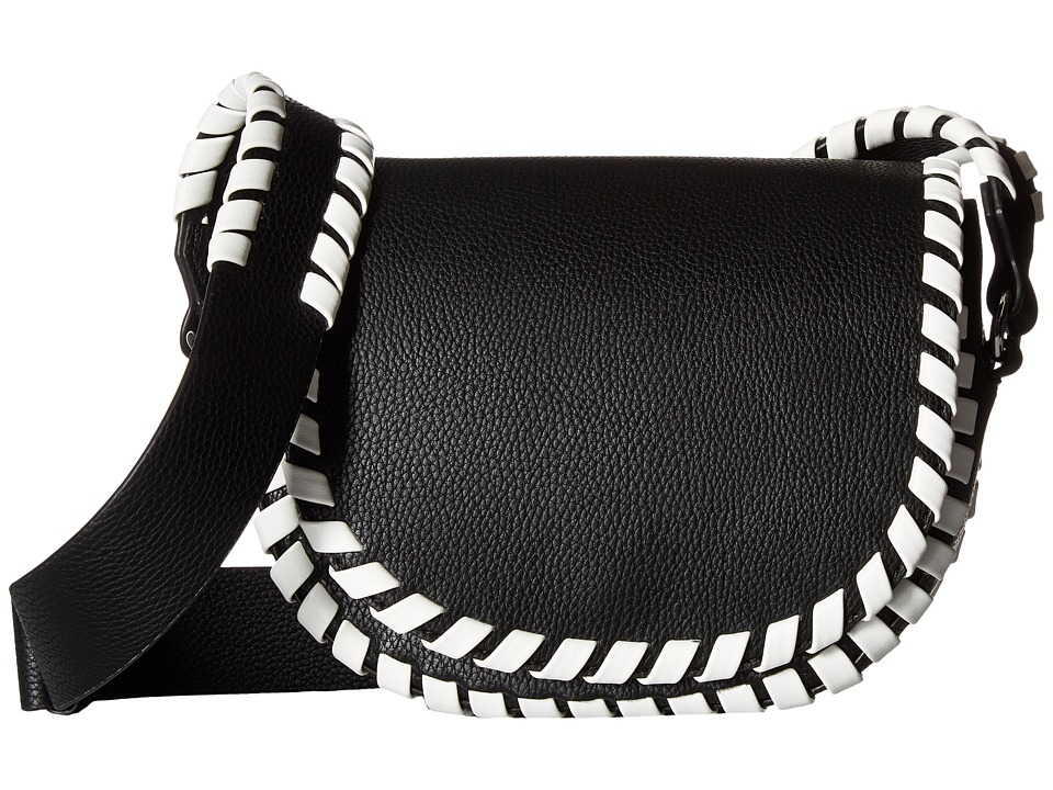 French Connection - Claudia Small Saddle Bag (Black/White) Handbags