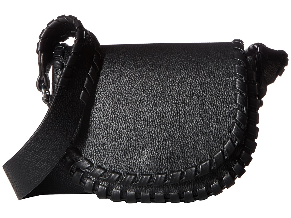 French Connection - Claudia Small Saddle Bag (Black) Handbags