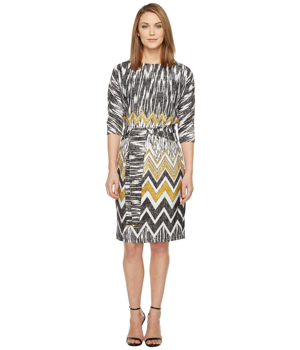 Ellen Tracy - Chevron Printed Dress with Self Belt (Multi) Women's Dress