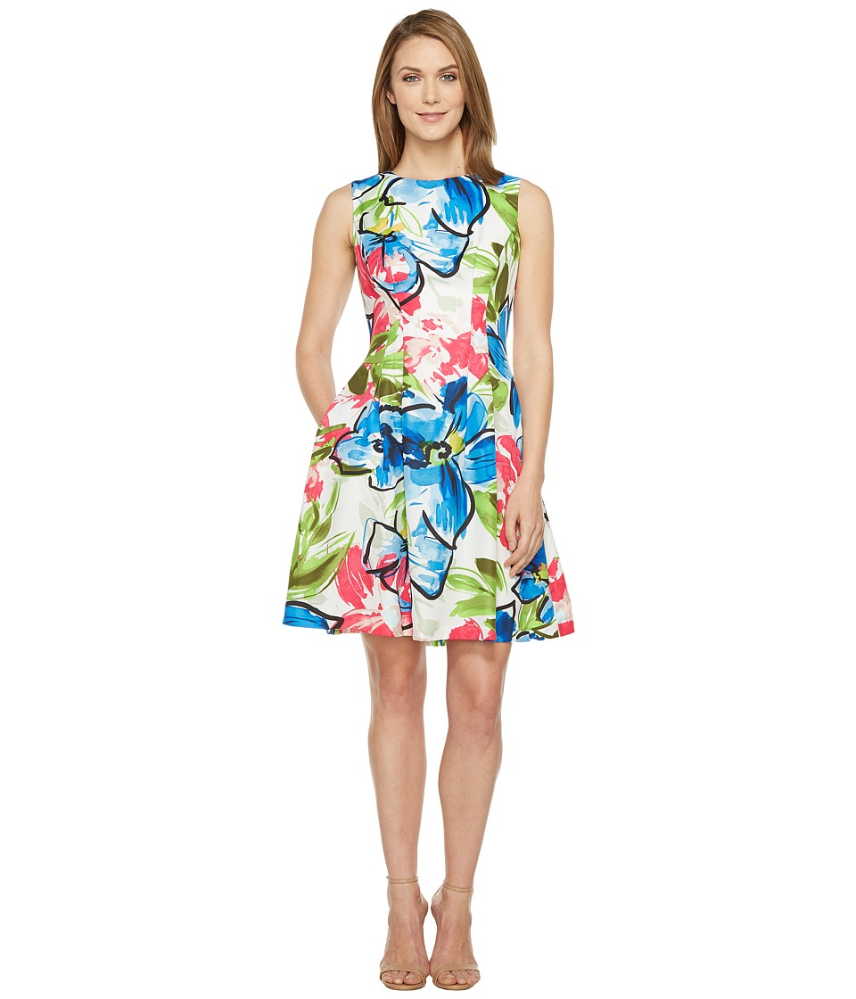 Ellen Tracy - Floral Print Dress (White Multi) Women's Dress