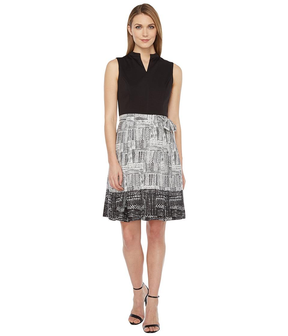 Ellen Tracy Printed Skirt Dress (Black/White) Women