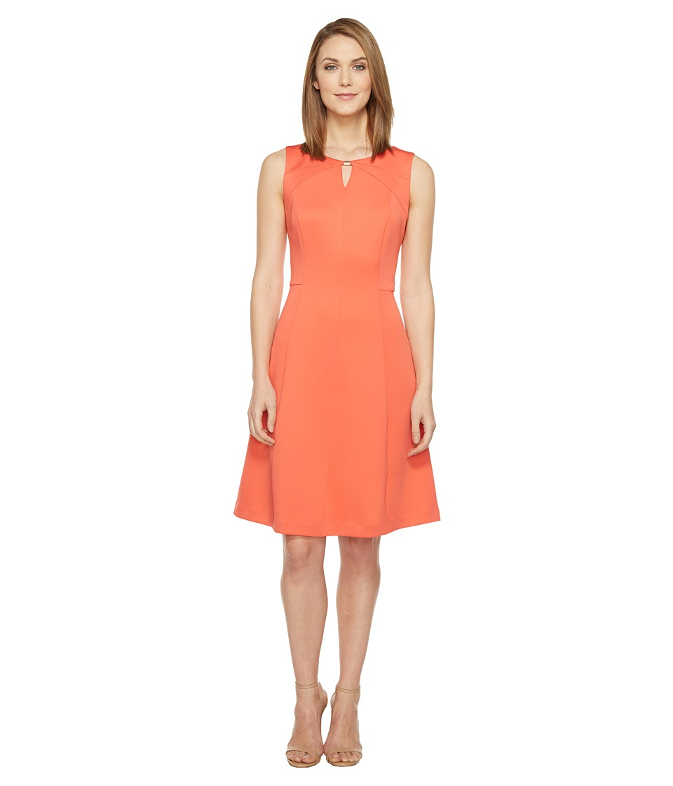 Ellen Tracy Scuba Fit and Flare Dress (Coral) Women
