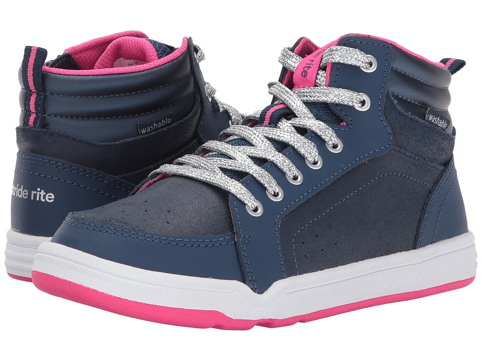 Stride Rite Made 2 Play Kaleb Mid Lace (Little Kid) (Navy) Girls Shoes