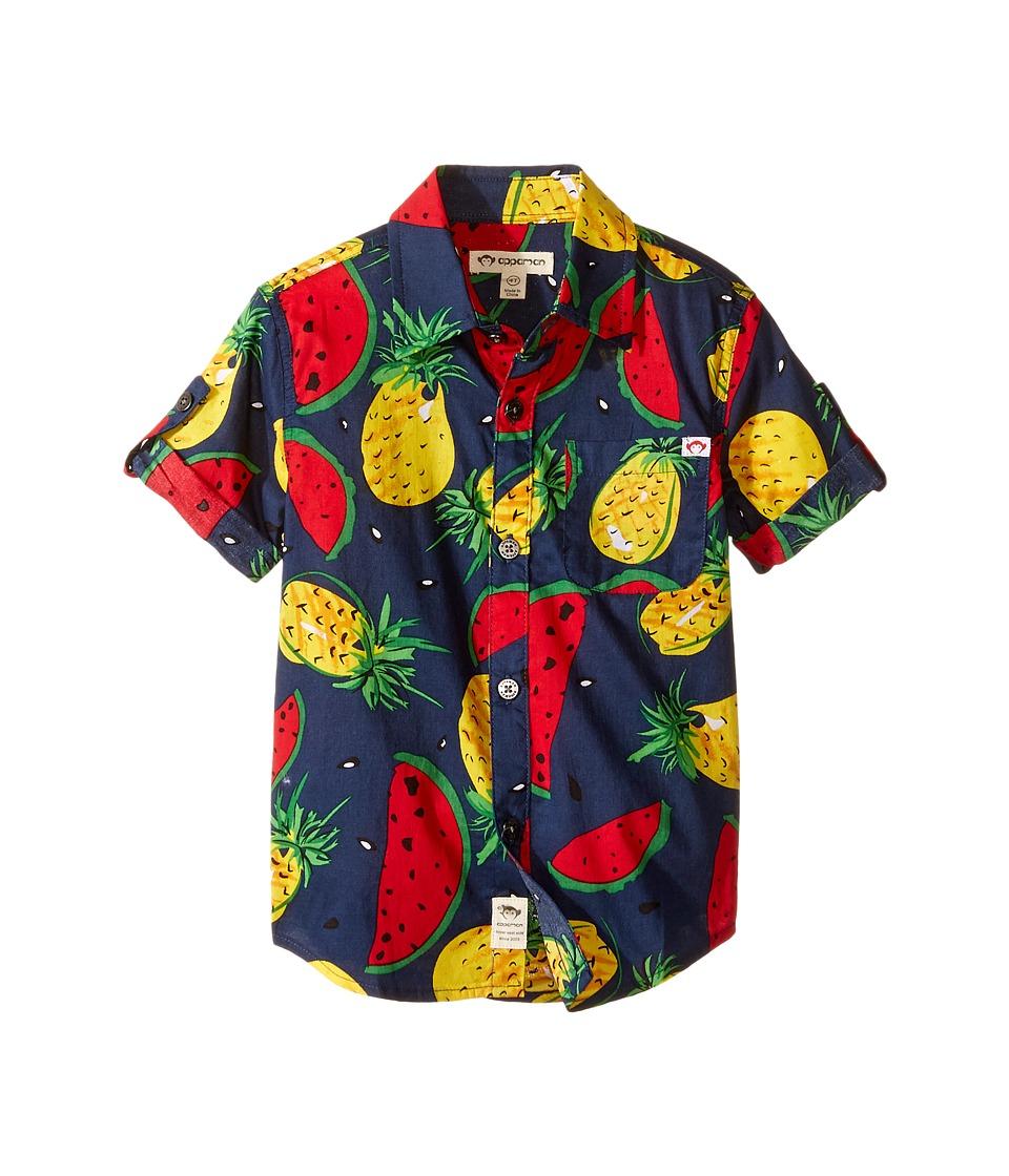 Appaman Kids - Pattern Shirt (Toddler/Little Kids/Big Kids) (Navy Blue) Boy's Short Sleeve Button Up