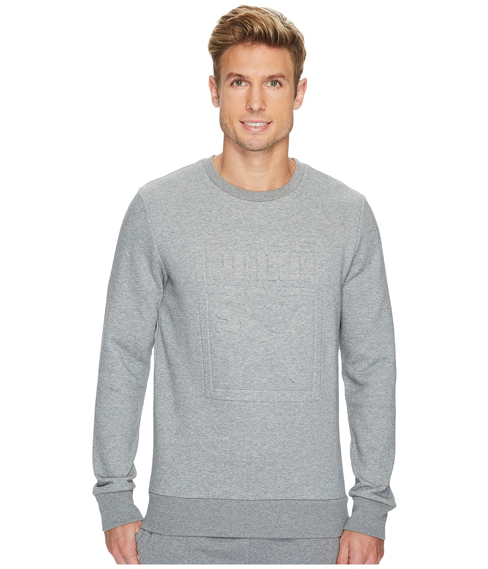 PUMA - Archive Embossed Logo Crew (Medium Gray Heather) Men's Clothing