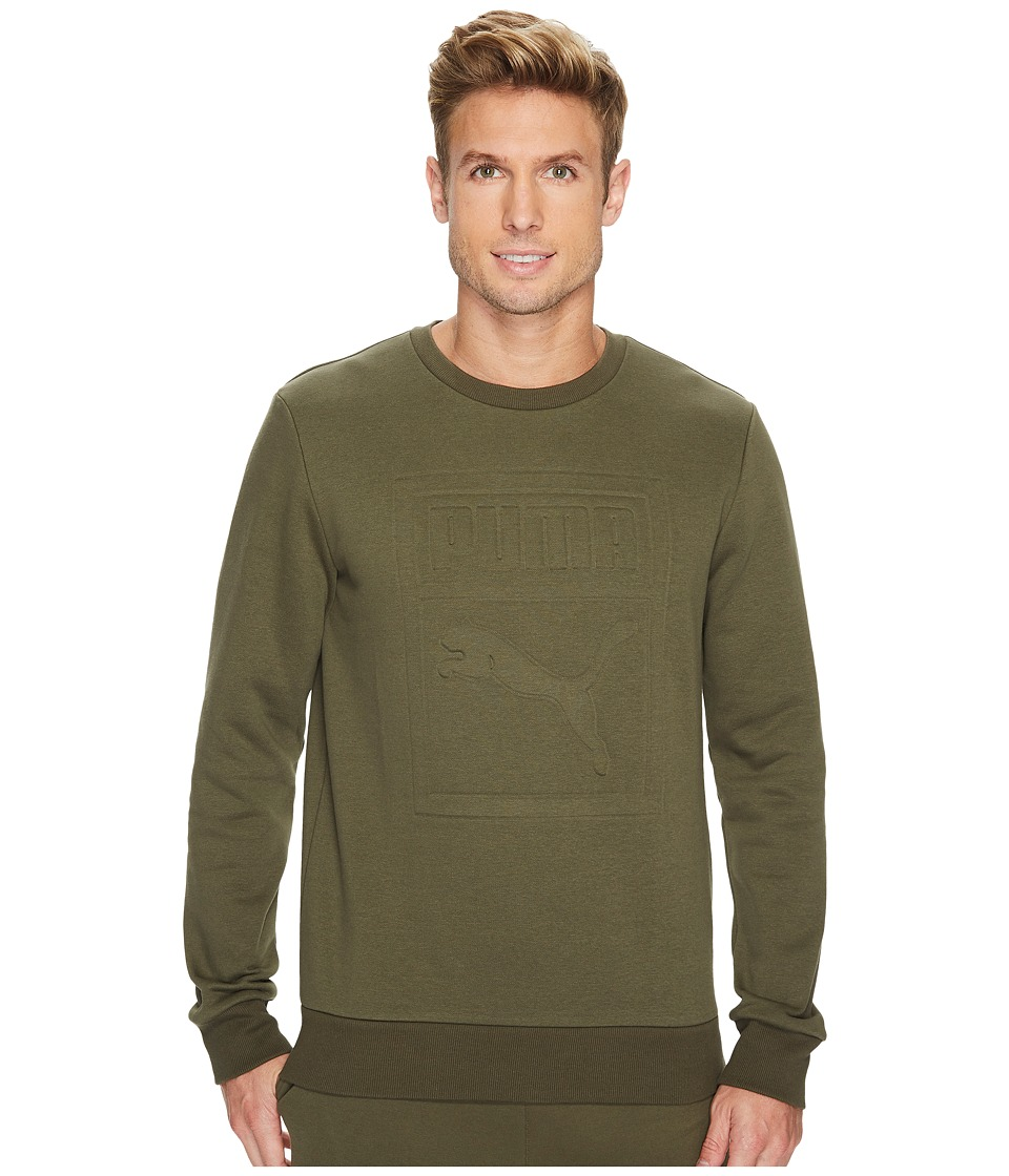 PUMA - Archive Embossed Logo Crew (Olive Night) Men's Clothing