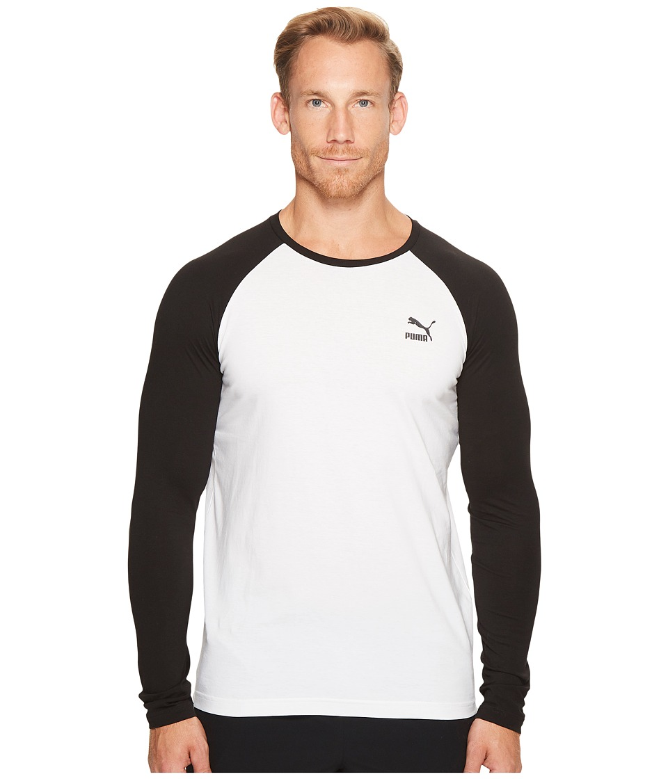 PUMA - Archive Logo Raglan Long Sleeve (PUMA White) Men's Clothing