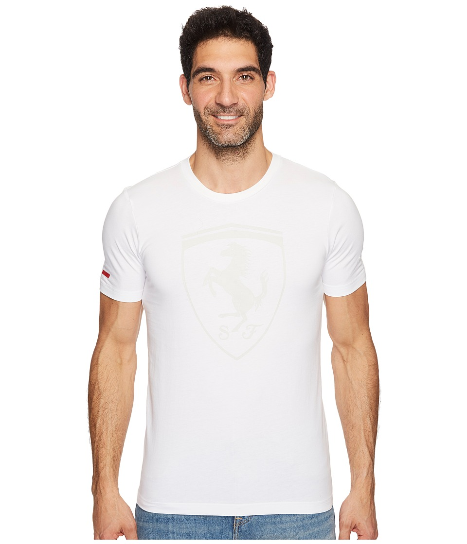 PUMA - Ferrari Big Shield Tee (PUMA White) Men's T Shirt