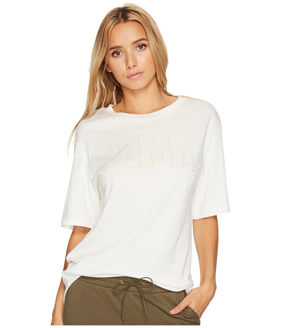 PUMA - Fusion Elongated Tee (Marshmallow) Women's Short Sleeve Pullover