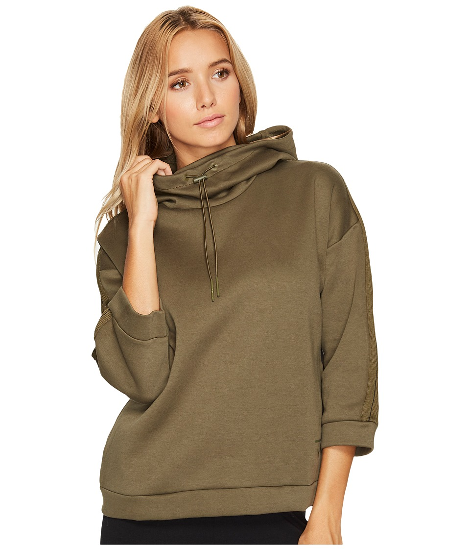 PUMA - Tape Funnel Neck Crew (Olive Night) Women's Clothing