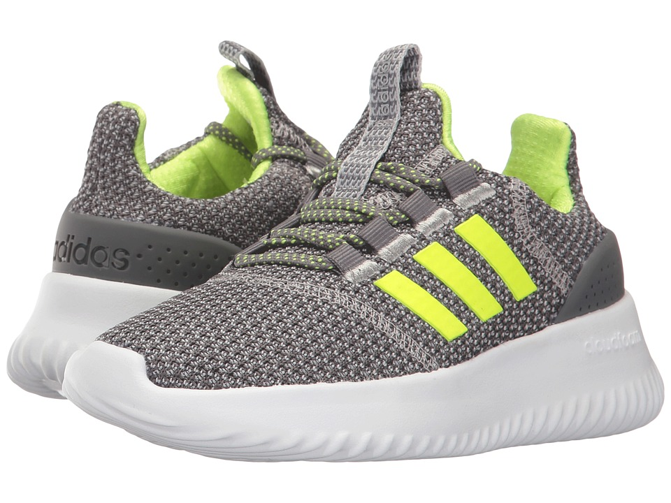 adidas Kids - Cloudfoam Ultimate (Little Kid/Big Kid) (Grey Four/Solar Yellow/Matte Silver) Kids Shoes