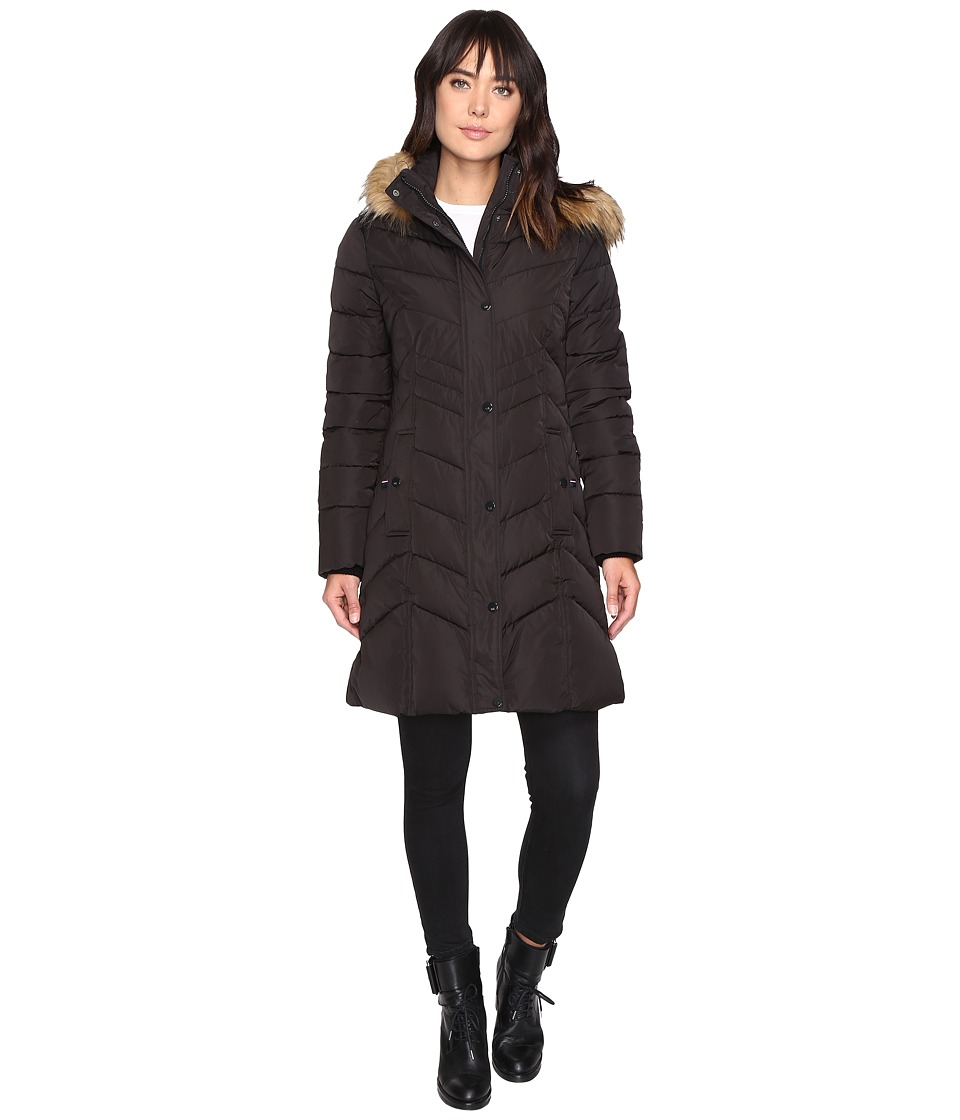Tommy Hilfiger - Chevron Quilted Coat with Faux Fur Collar (Black) Women's Coat