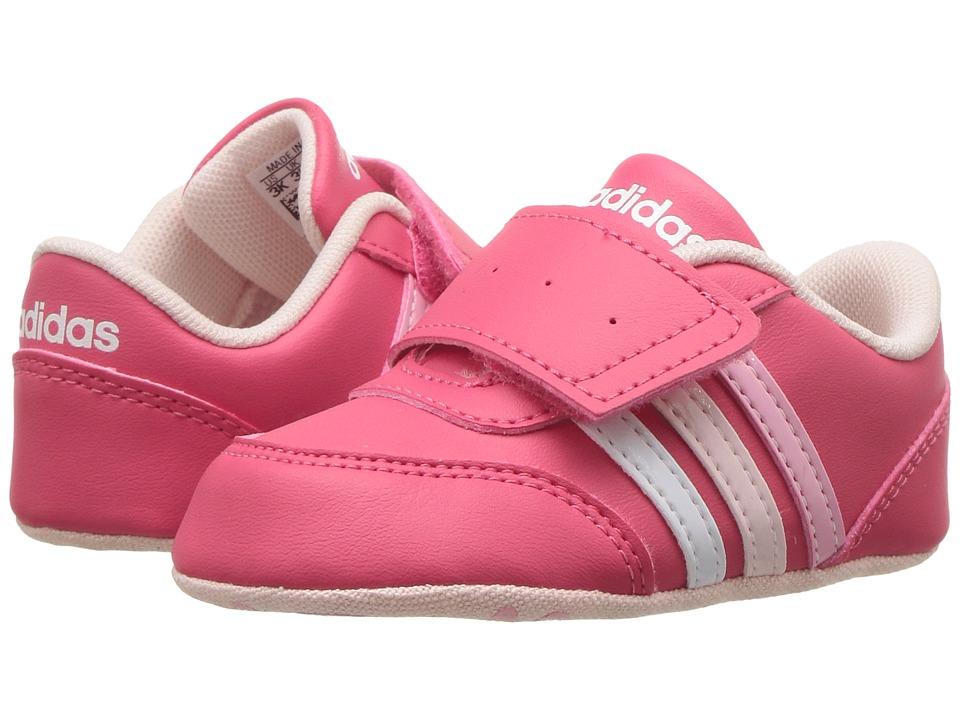 adidas Kids - V Jog Crib (Infant/Toddler) (Super Pink/Footwear White/Icy Pink) Kids Shoes