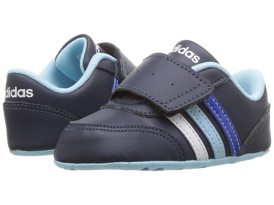 adidas Kids - V Jog Crib (Infant/Toddler) (Collegiate Navy/Footwear White/Icy Blue) Kids Shoes