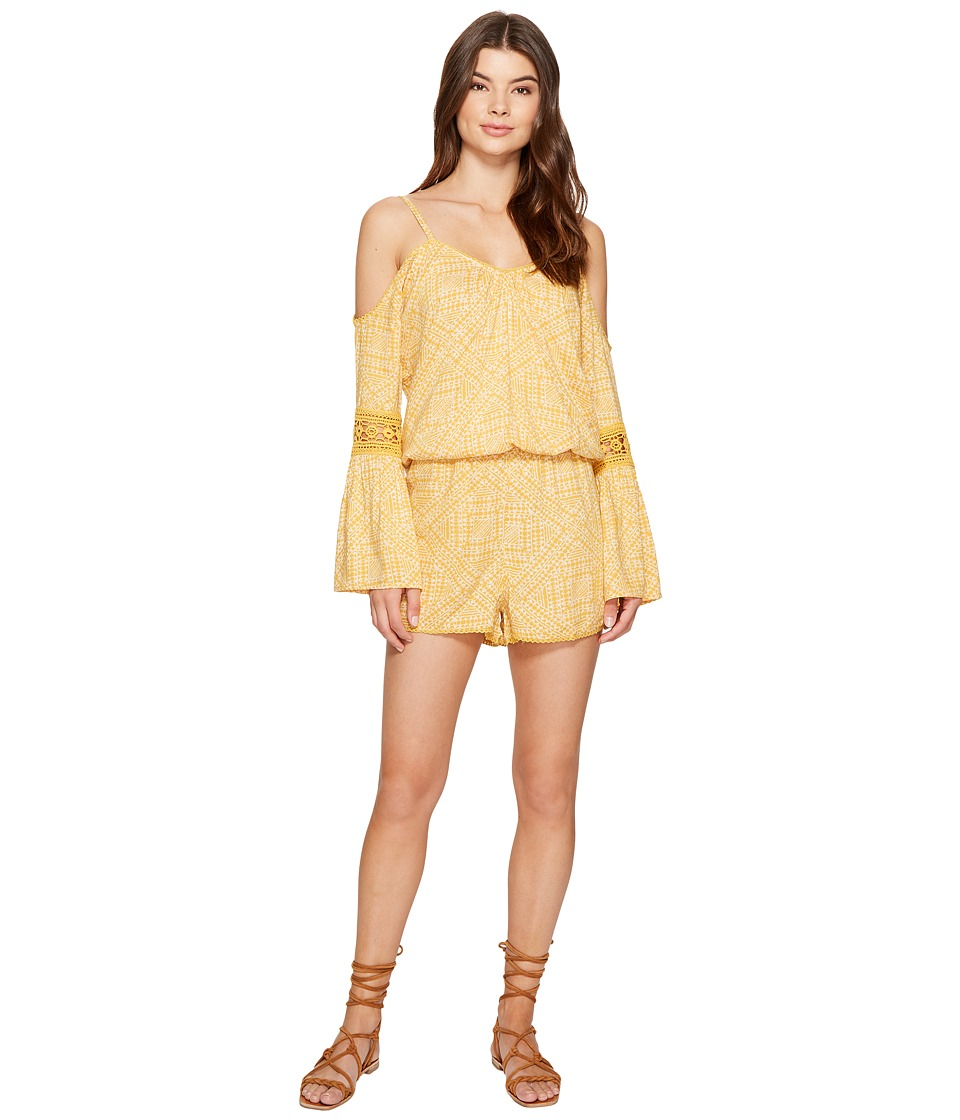 Roxy - Island Joy Strappy Printed Romper (Golden Apricot Cayo Coco) Women's Swimsuits One Piece