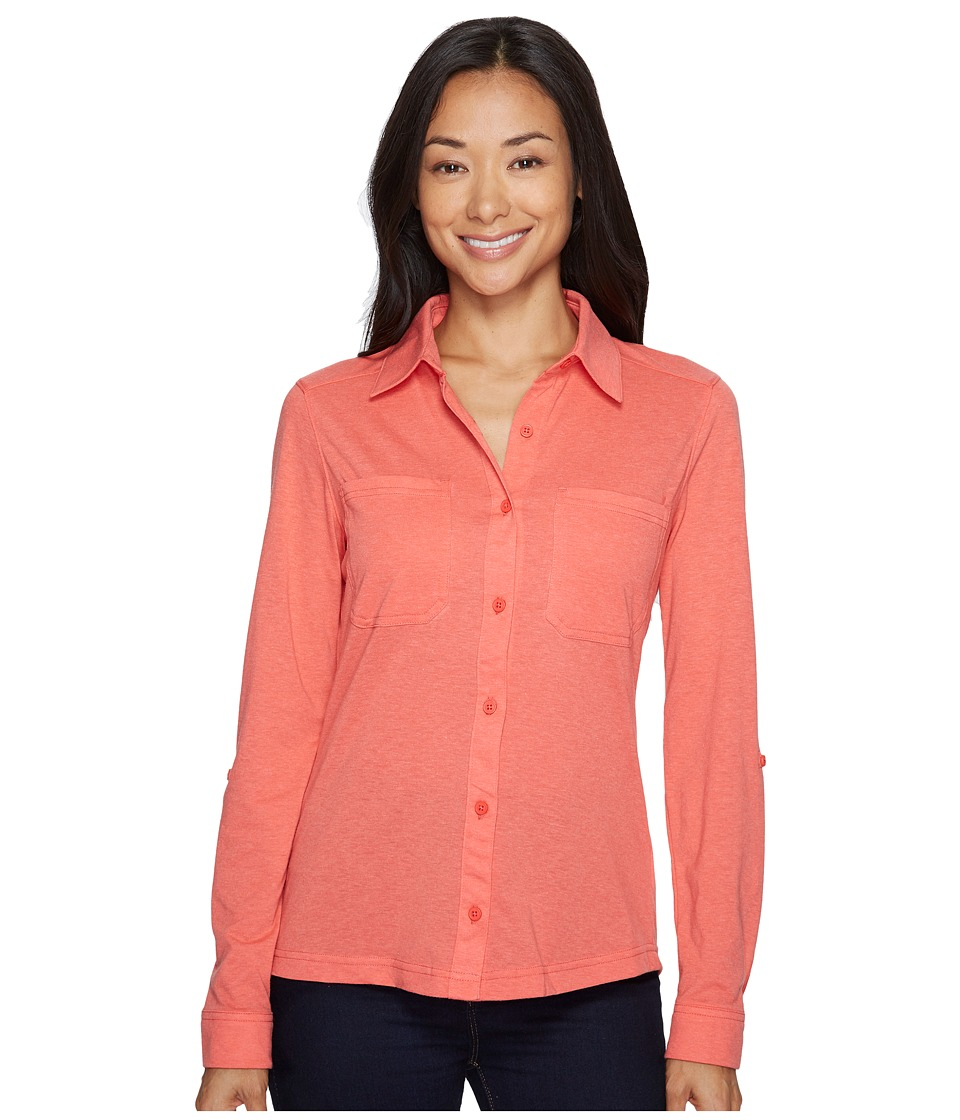 Columbia Saturday Trail Knit Long Sleeve Shirt (Red Coral Heather) Women
