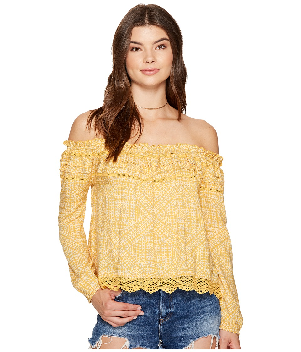 Roxy - Off The Shoulder Cold Shoulder Top (Golden Apricot Cayo Coco) Women's Swimwear