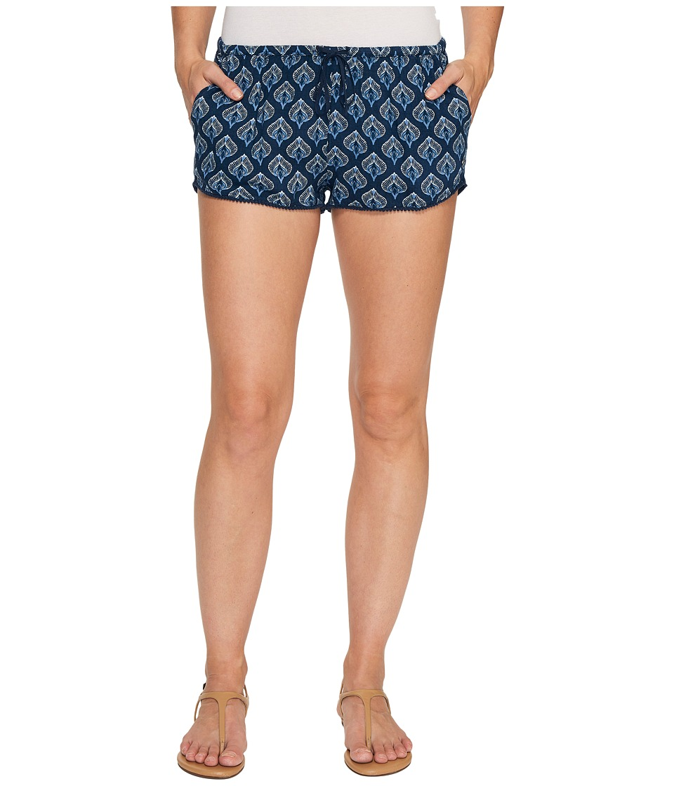 Roxy - Mystic Az Beach Short (Dress Blue Peacock Leaves) Women's Swimwear