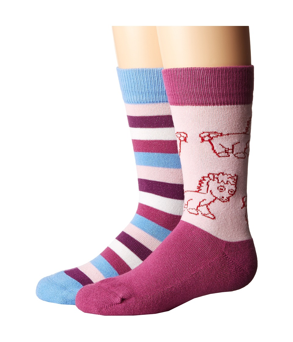 Old West Boots - Crew Socks 2-Pack (Toddler/Little Kid) (Blue/Pink) Women's Crew Cut Socks Shoes