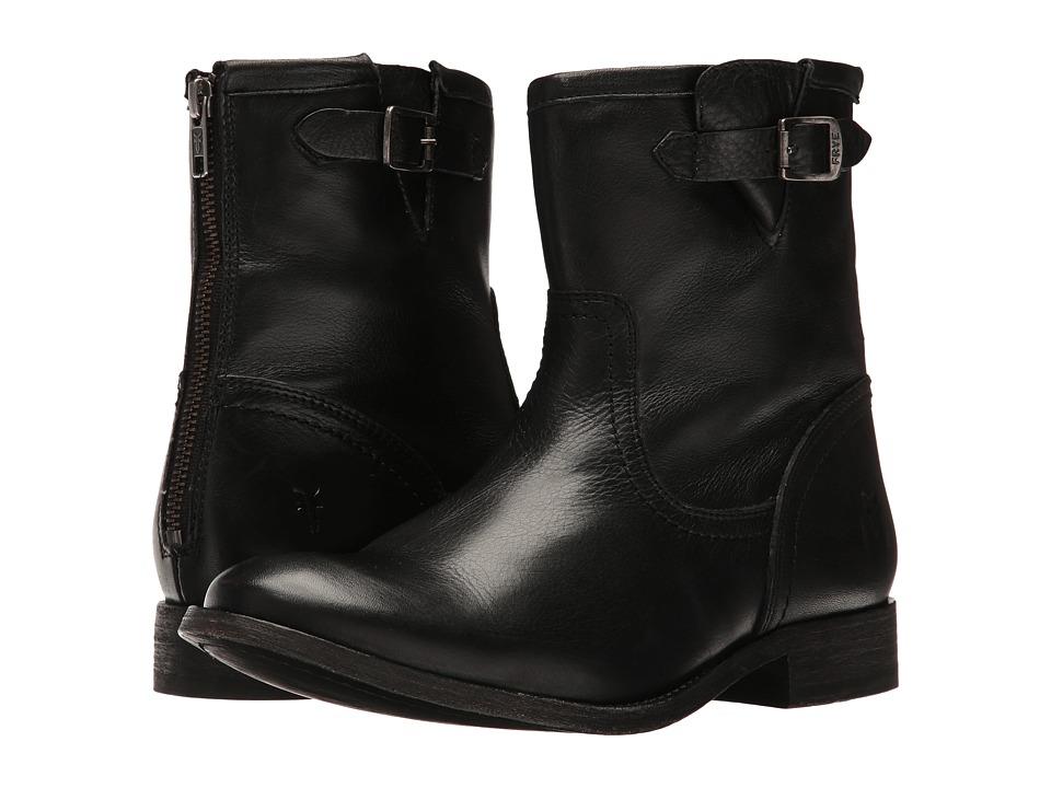 Frye Pippa Back Zip Short Black Cowboy Boots