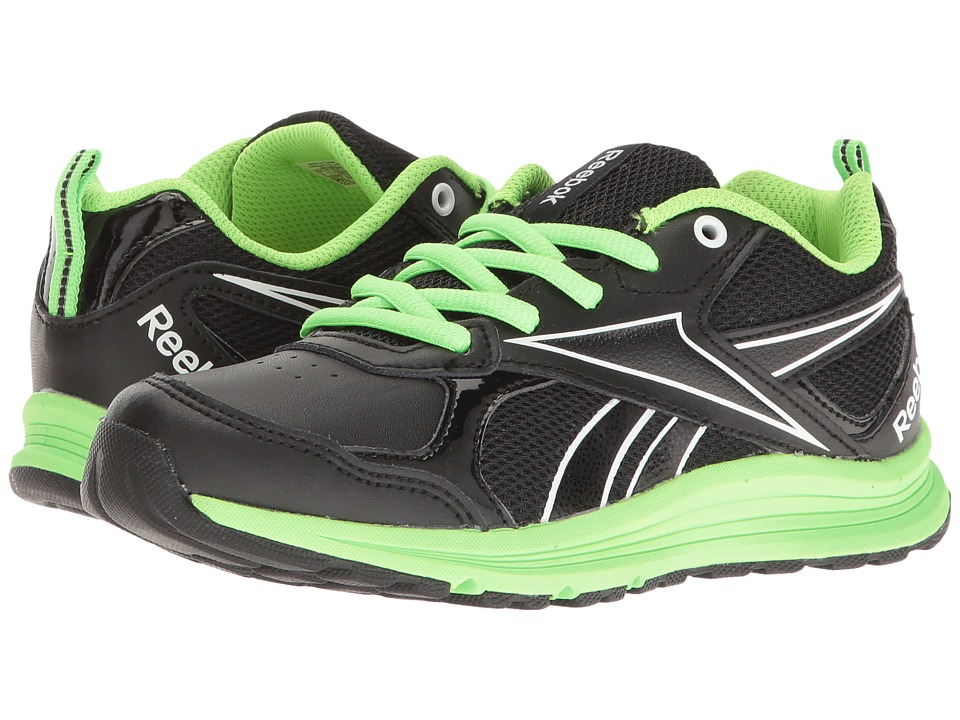 Reebok Kids - Almotio RS Brights (Little Kid/Big Kid) (Black/Solar Green/White) Kid's Shoes