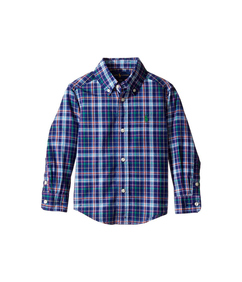 Polo Ralph Lauren Kids - Poplin Plaid Long Sleeve Button Down Shirt (Toddler) (Royal Multi) Boy's Long Sleeve Button Up