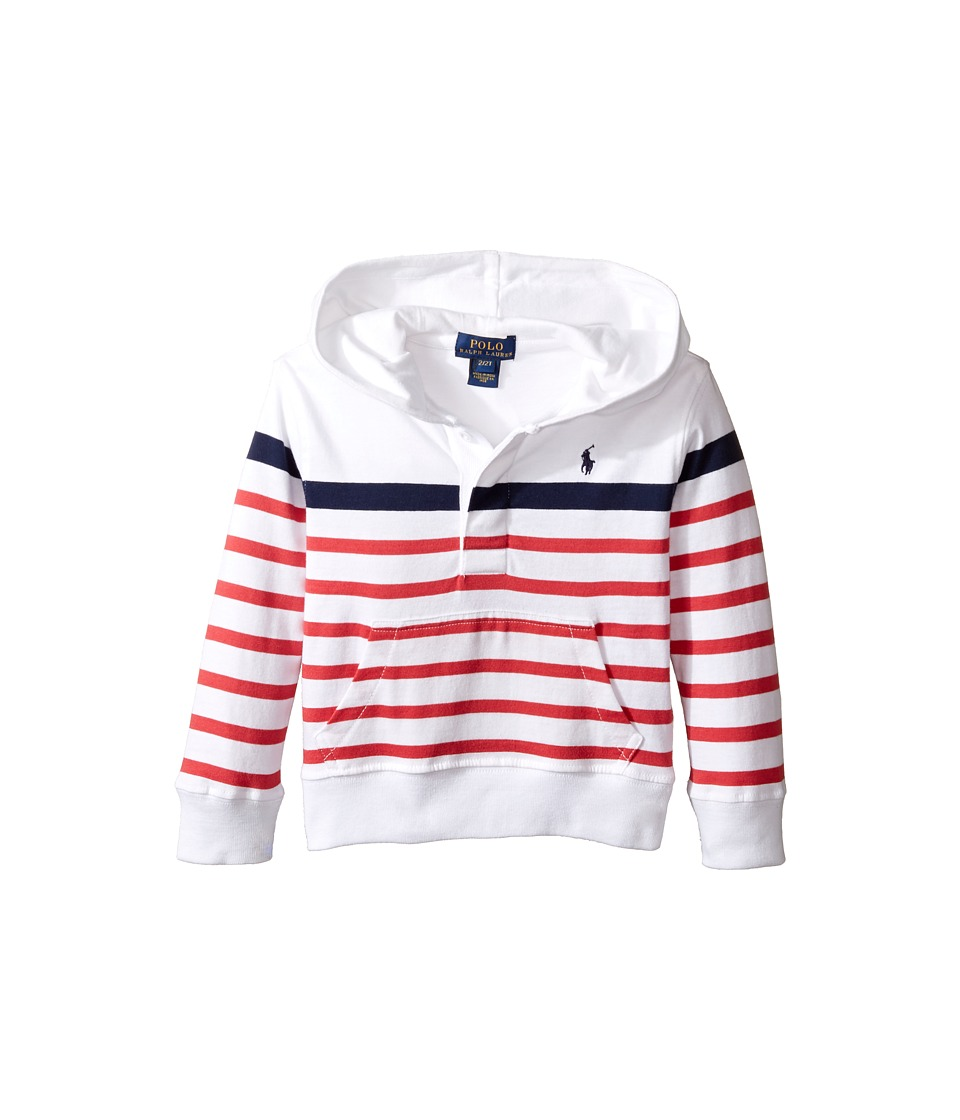 Polo Ralph Lauren Kids - 20/1 Yarn-Dyed Jersey Pullover Hoodie (Toddler) (White Multi) Boy's Sweatshirt