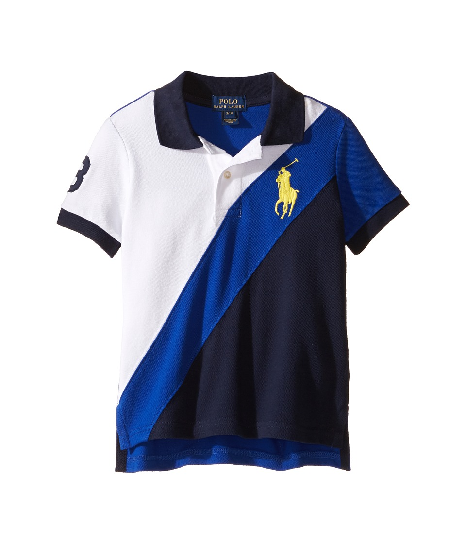 Polo Ralph Lauren Kids - Basic Mesh Banner Polo (Toddler) (Pure White Multi) Boy's Short Sleeve Pullover
