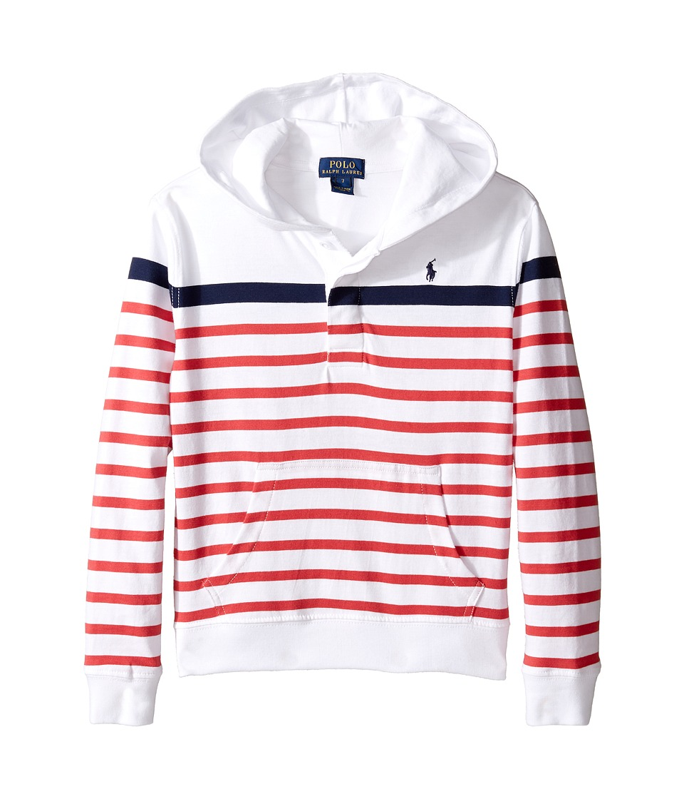 Polo Ralph Lauren Kids - 20/1 Yarn-Dyed Jersey Pull Over Hoodie (Little Kids/Big Kids) (White Multi) Boy's Sweatshirt