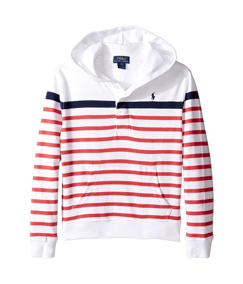 Polo Ralph Lauren Kids - 20/1 Yarn-Dyed Jersey Pull Over Hoodie (Little Kids/Big Kids) (White Multi) Boy's Sweatshirt