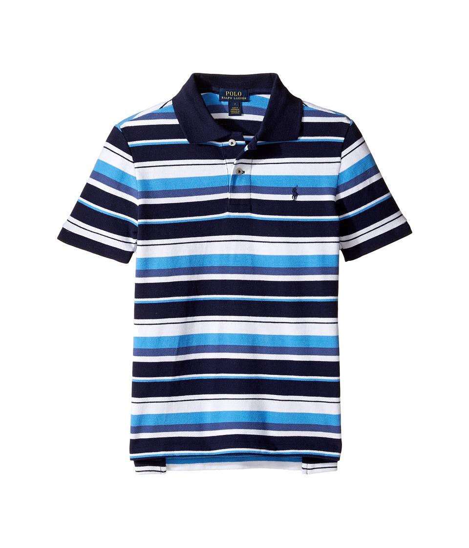 Polo Ralph Lauren Kids - Yarn-Dyed Basic Mesh Short Sleeve Knit Collar Shirt (Little Kids/Big Kids) (French Navy Multi) Boy's Short Sleeve Pullover
