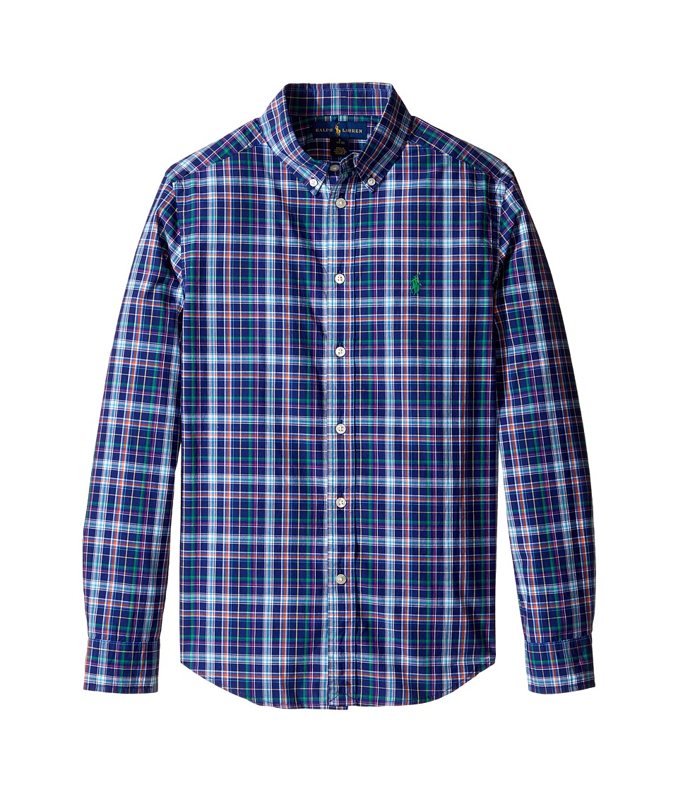 Polo Ralph Lauren Kids - Poplin Plaid Long Sleeve Button Down Shirt (Big Kids) (Royal Multi) Boy's Long Sleeve Button Up
