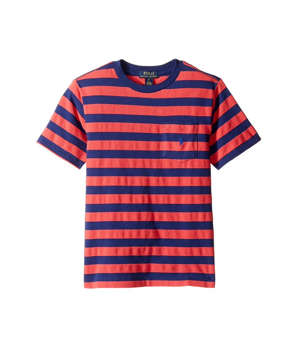 Polo Ralph Lauren Kids - Textured Jersey Short Sleeve Pocket Tee (Big Kids) (Starboard Red Multi) Boy's T Shirt