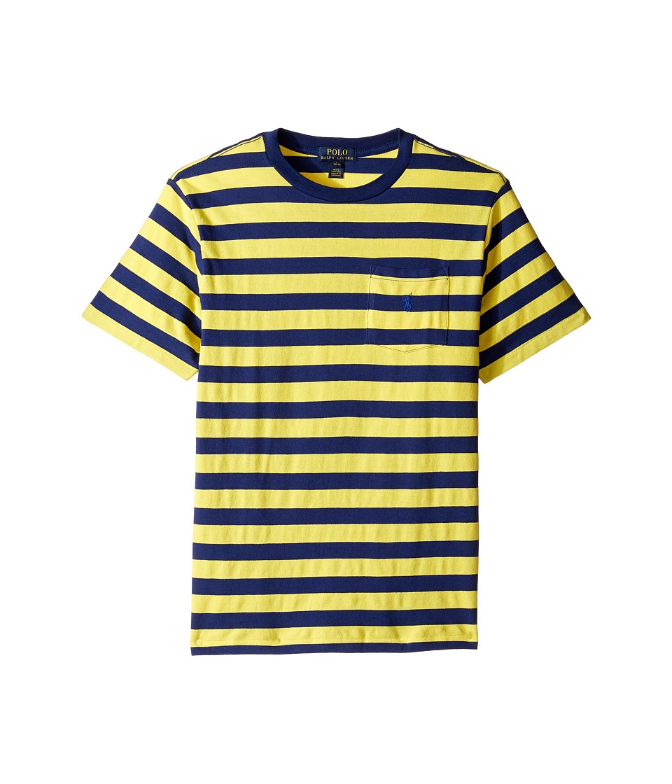 Polo Ralph Lauren Kids - Textured Jersey Short Sleeve Pocket Tee (Big Kids) (Hampton Yellow Multi) Boy's T Shirt